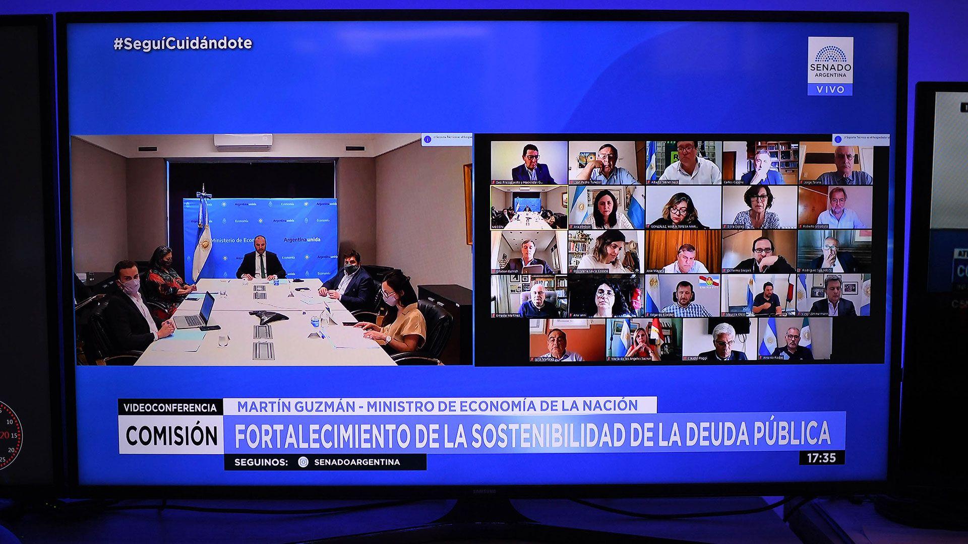 omisión de Presupuesto y Hacienda del Senado de la Nación con Martin Guzman