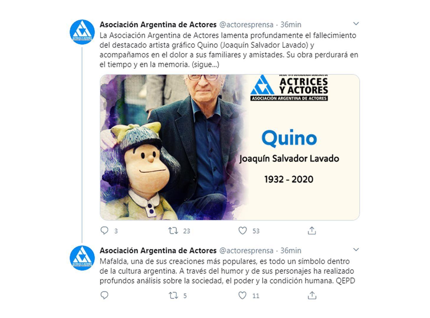Mensajes de los famosos por la muerte de Quino