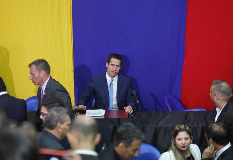 Guaidó tras su reelección como presidente de la Asamblea Nacional (REUTERS/Fausto Torrealba)