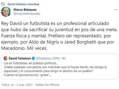 El político Blásquez defendió la candidatura de Negrete (Foto: captura de pantalla Twitter @marcoblasquezbc)