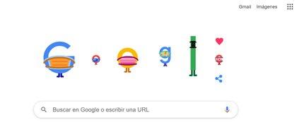 El doodle de Google da cuenta de la importancia de usar mascarillas para disminuir las chances de contagio