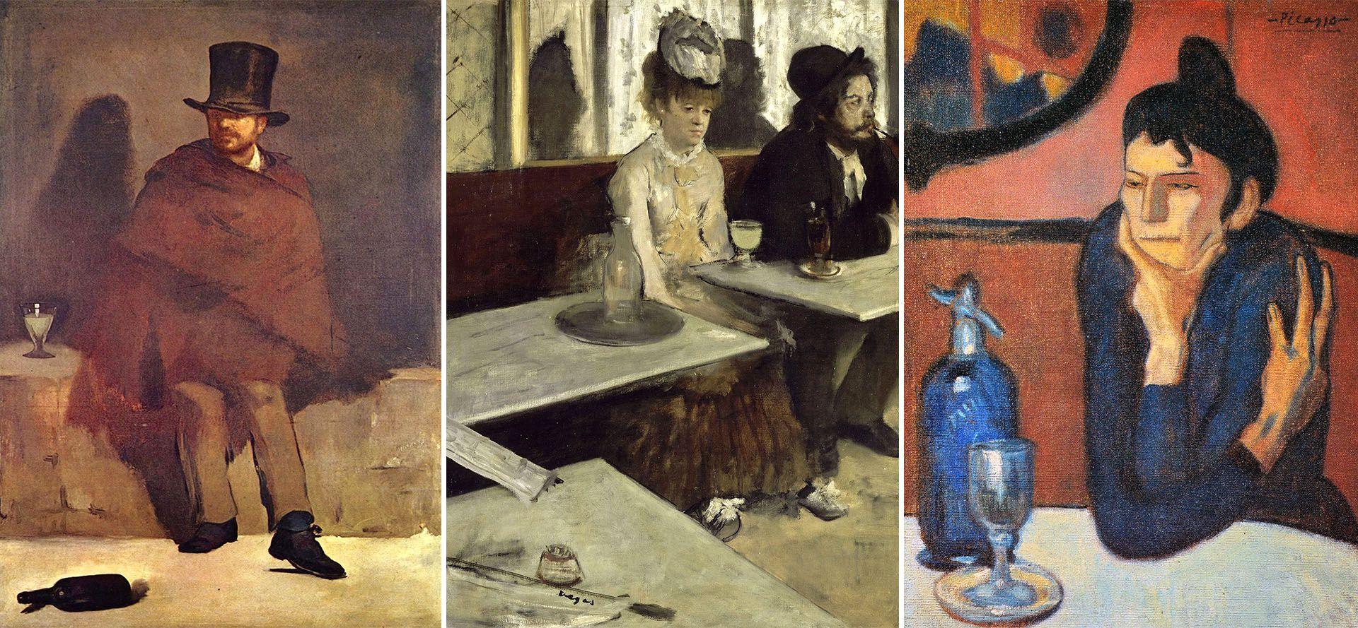 """""""Bebedor de absenta"""", de Edouard Manet (1859), """"La absenta"""", de Edgar Degas (1876) y """"Bebedora de absenta"""", de Pablo Picasso (1901)"""
