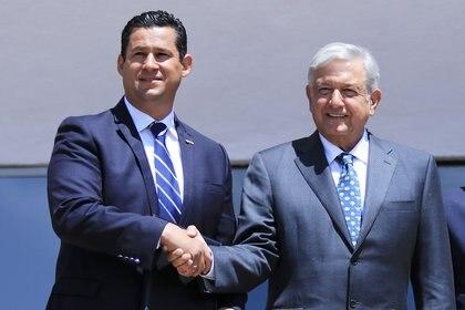 El presidente Andrés Manuel López Obrador, y el gobernador de Guanajuato, Diego Sinhue Rodríguez Vallejo. (FOTO: GUSTAVO BECERRA /CUARTOSCURO)