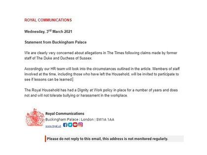 El comunicado oficial de la familia real británica