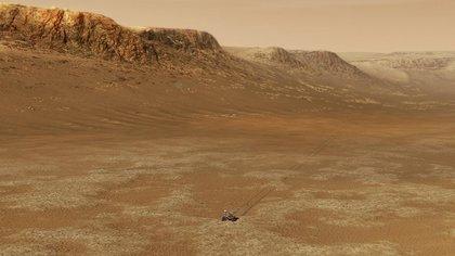 Un'illustrazione di una navicella spaziale della NASA che opera all'interno del cratere Jezero sulla superficie di Marte.  NASA / JPL-CALTECH