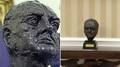 Donald Trump devolvió al salón principal un busto de Winston Churchill