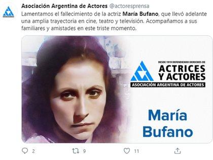 """Murió María Bufano, actriz de """"La extraña dama"""" y """"Chiquititas ..."""