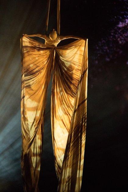La oruga se convirtió en mariposa mediante un impactante truco volador (Cirque du Soleil)