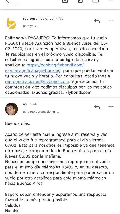 Mail de la cancelación que recibió Nicolás por parte de Flybondi
