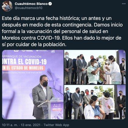 El exfutbolista calificó a este suceso como un evento histórico, un punto de inflexión en el combate a la larga y extenuante pandemia de Covid-19 (Foto: Twitter@cuauhtemocb10)