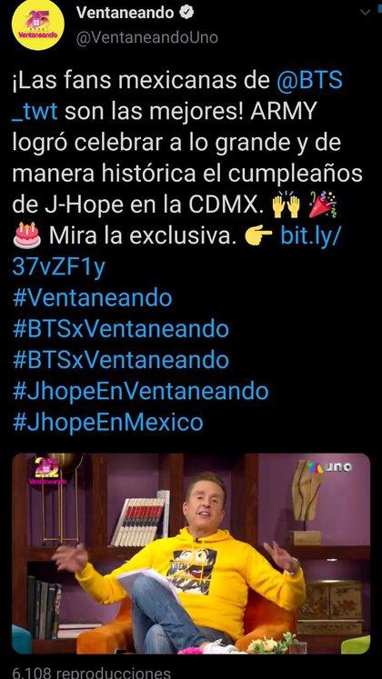 """La presentadora Mónica Castañeda aseguró que las fans mexicanas de BTS """"son las mejores, las más escandalosas y las más organizadas"""" (Foto: Twitter/@VentaneandoUno)"""