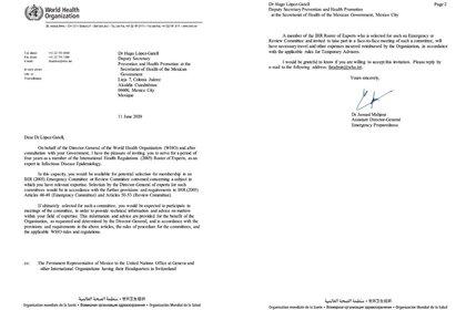 Carta de la OMS enviada al subsecretario de Salud (Foto: Twitter@jenarovillamil)
