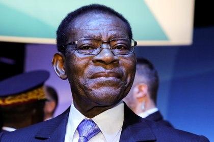 El presidente de Guinea Ecuatorial, Teodoro Obiang Nguema Mbasogo, asiste a la sesión plenaria del Foro de Paz de París, Francia, el 12 de noviembre de 2019 (Ludovic Marin/Pool vía REUTERS)