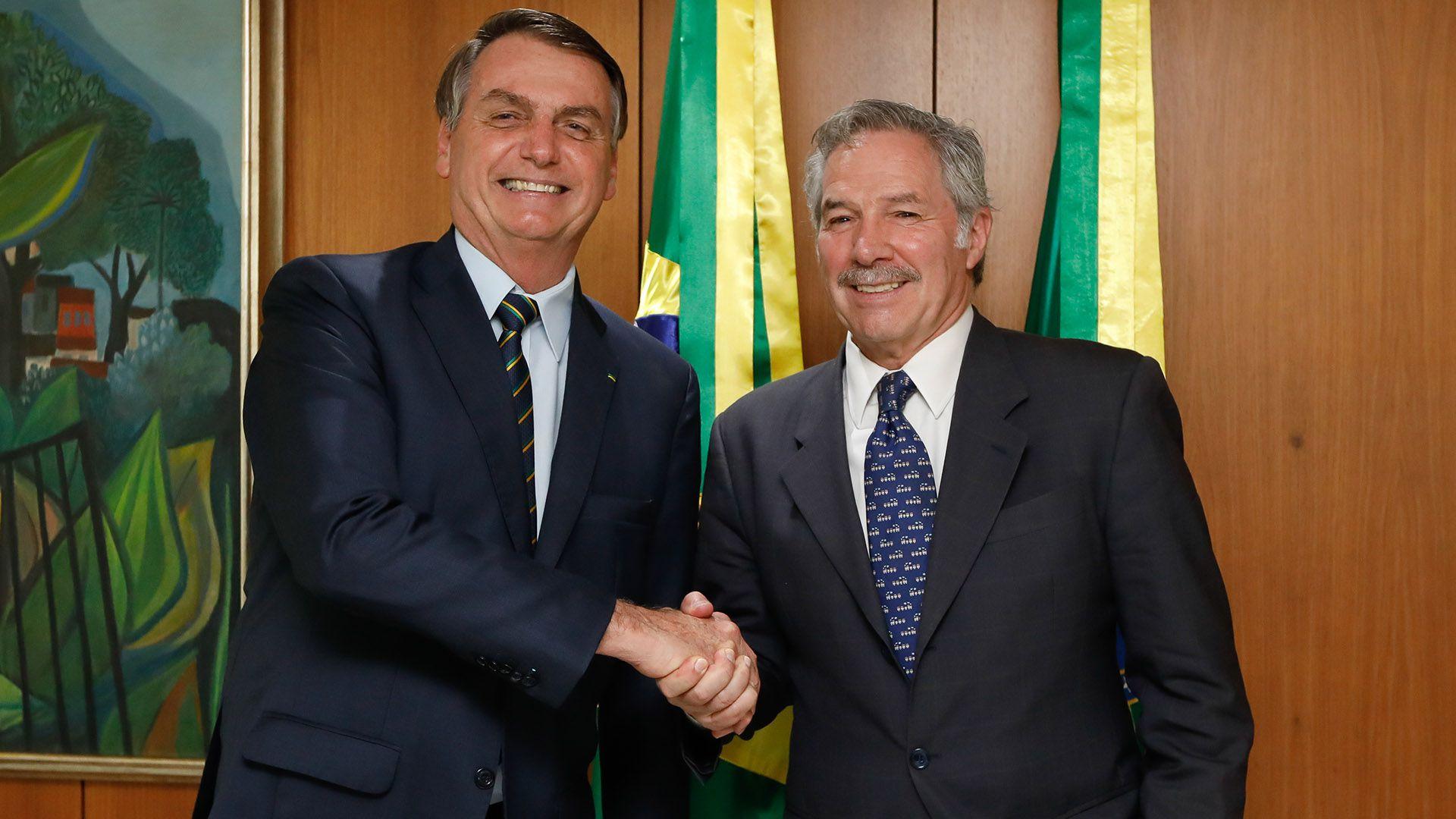 El presidente de Brasil, Jair Bolsonaro, durante la reunión con Felipe Solá, ministro de Relaciones Exteriores, Comercio Internacional y Culto de Argentina (Foto: Carolina Antunes / PR)