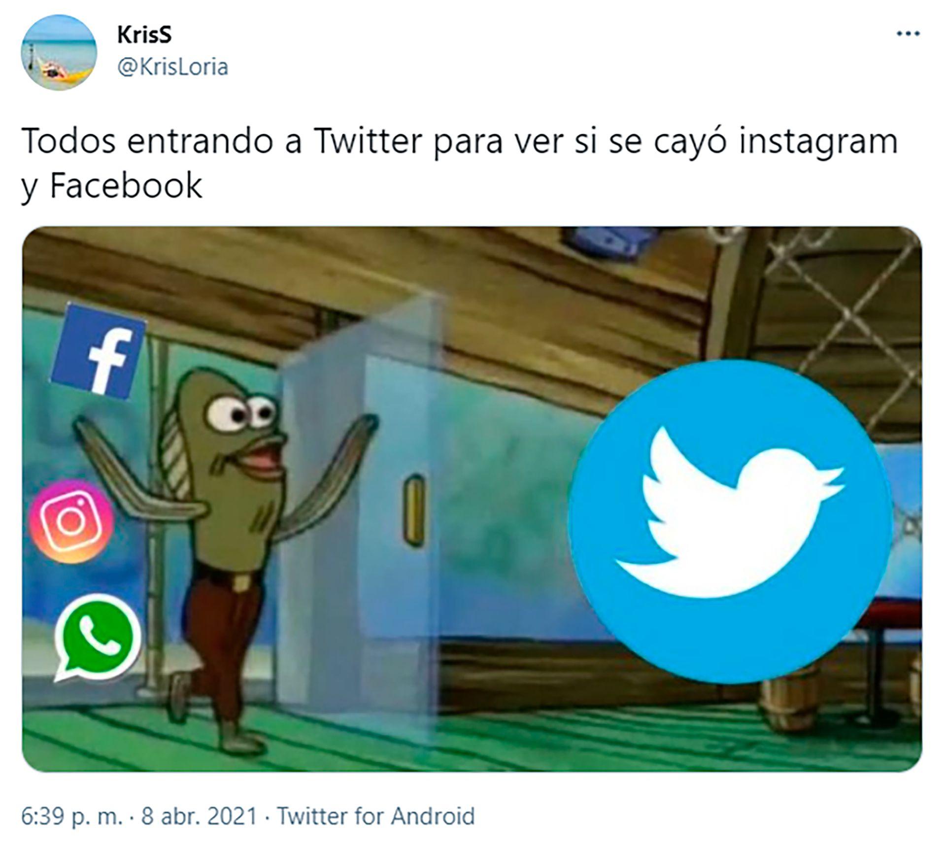 Tweets sobre la caida de instagram y facebook