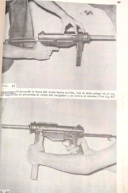 """En la página 55 del """"manual"""" de Montoneros, se explica la forma correcta de descargar una pistola ametralladora."""