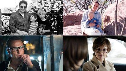 Arriba, Andrei Bezrukov y Elena Vavilova, los verdaderos espías rusos, con sus hijos. Abajo, los actores Matthew Rhys y Keri Russell en The Americans