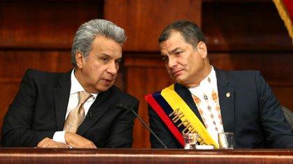 Lenín Moreno junto a Rafael Correa