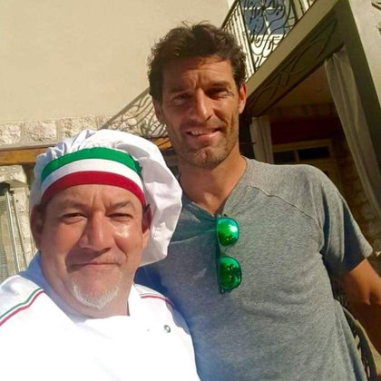 El chef argentino con Mark Webber, ex piloto de F1
