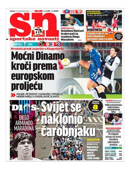 La portada de Sportske Novosti de Croacia
