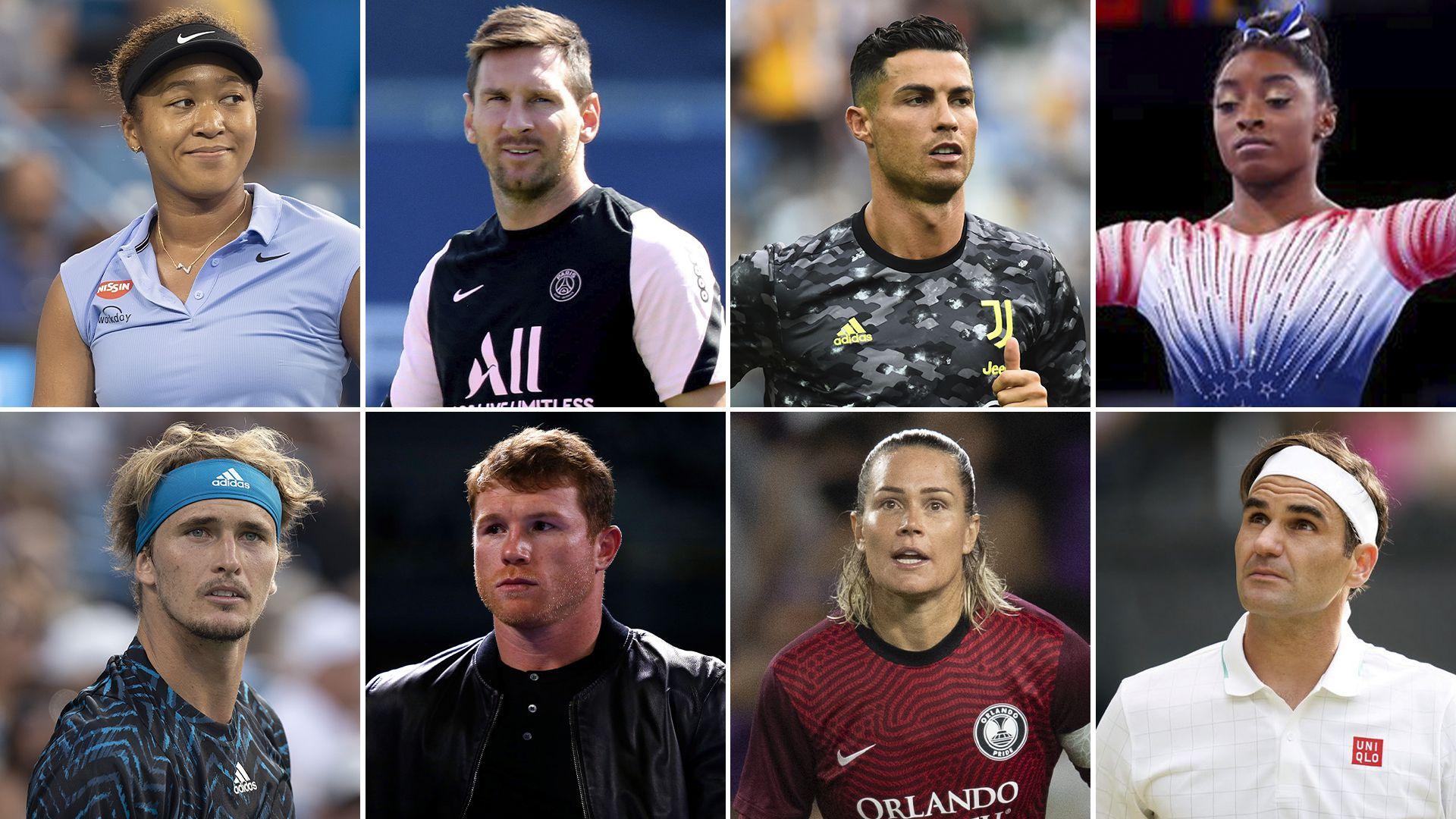 Naomi Osaka, Lionel Messi, Cristiano Ronaldo, Simone Biles, Stefanos Tsispas, Canelo Álvárez, Ashlyn Harris y Roger Federer