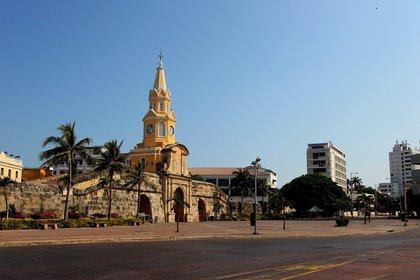 Vista de la emblemática Torre del Reloj en Cartagena de Indias (Colombia). EFE/Ricardo Maldonado/Archivo