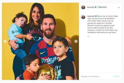 El agradecimiento de Messi por haber sido elegido