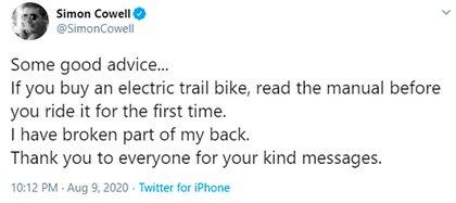 El mensaje de Simon Cowell tras la operación