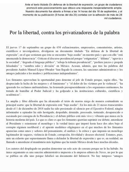 """Carta en respuesta al desplegado difundido por intelectuales para solicitar al presidente frenar ataques contra la """"libertad de expresión"""" (Foto: Twitter@fisgonmonero)"""