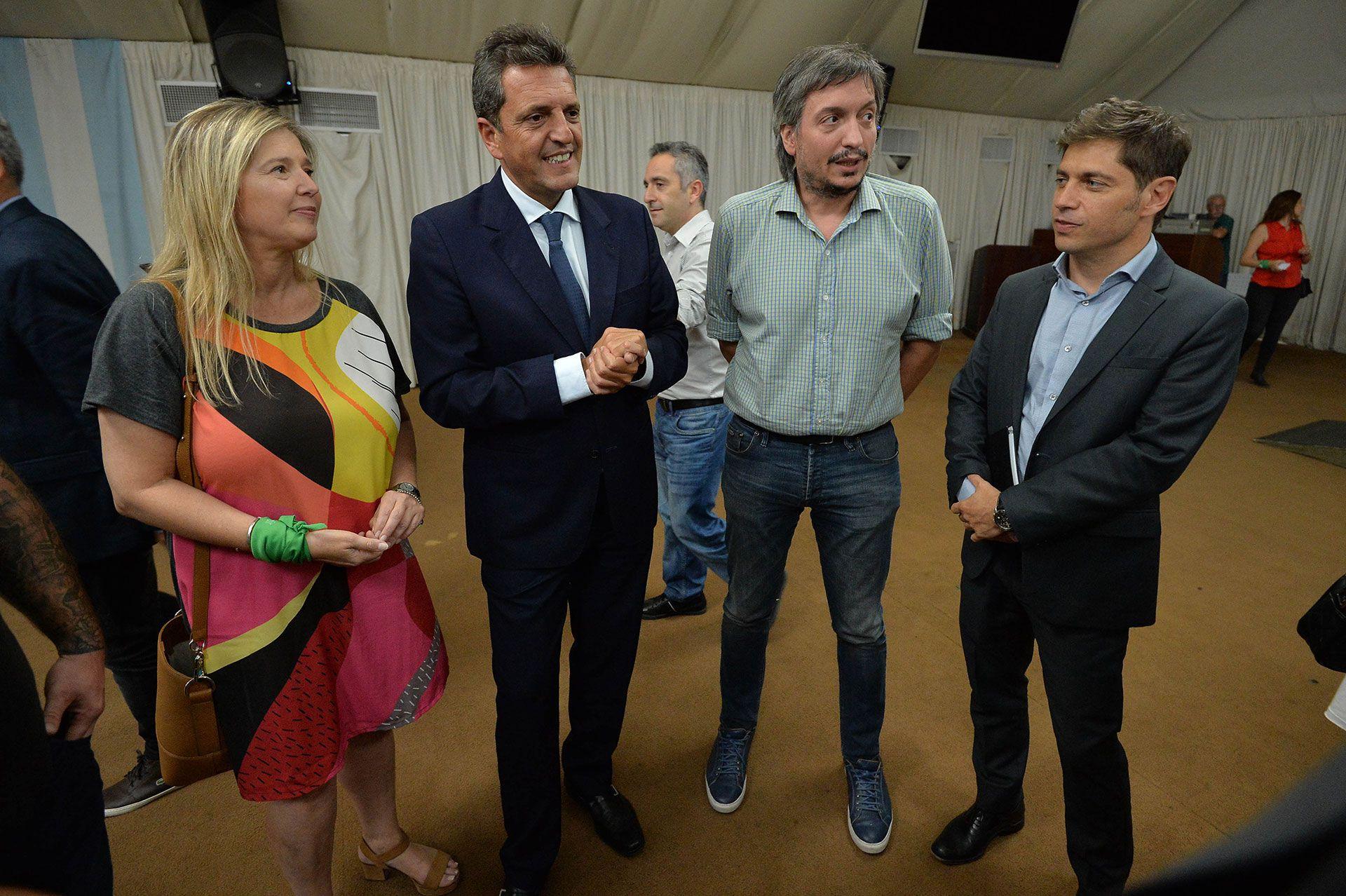 Cristina Alvarez Rodríguez, Sergio Massa, Máximo Kirchner y Axel Kicillof