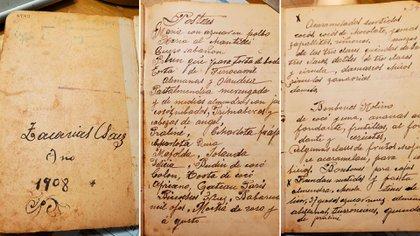 Recetario de Zacarías Sáez de 1908