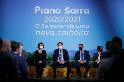 El presidente Jair Bolsonaro en la ceremonia de lanzamiento de Plano Safra 2020/2021, un plan de ayuda al sector agrícola  REUTERS/Adriano Machado