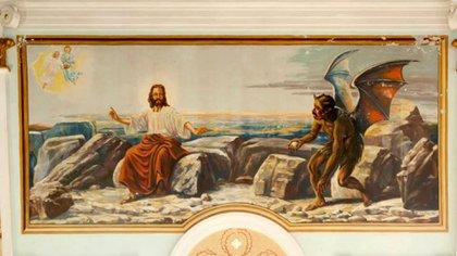 """""""La tentación de Jesús en el desierto"""", óleo pintado por el austriaco Johann Fuchs Holl en 1967 en la iglesia de San Rafael del Norte. Por el parecido del diablo con Daniel Ortega, es uno de los grandes atractivos turísticos del pueblo."""