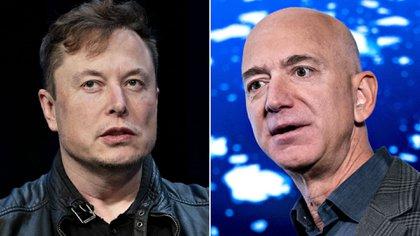 Jeff Bezos (derecha), quien había ostentado el título durante más de tres años hasta el mes pasado, recuperó el puesto número uno con un patrimonio neto de USD 191.200 millones, o USD 955 millones más que el CEO de Tesla, Elon Musk.