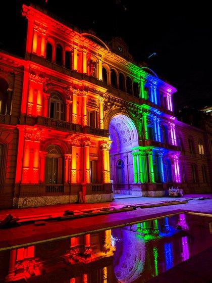 Así lució la Casa Rosada con la intervención artística de iluminación