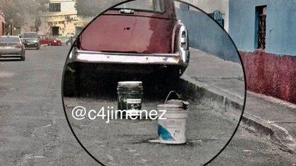 Los restos estaban dentro de dos cubetas de plástico cubiertas con cemento (@C4Jimenez)