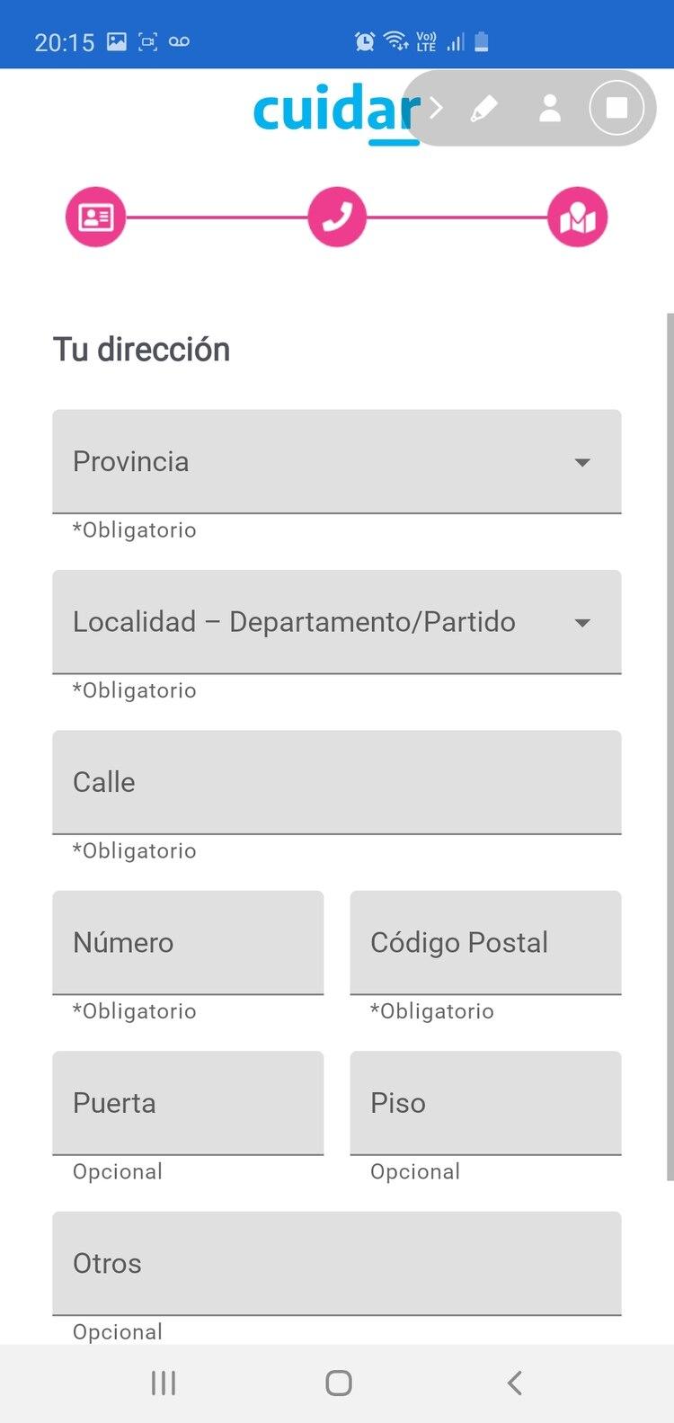 La app pide el DNI, nombre completo y domicilio.