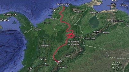 Esta fue la ruta que hizo el Renault 4 desde Bogotá hasta el puerto de Barranquilla, donde salió hacía Fort Lauderdale