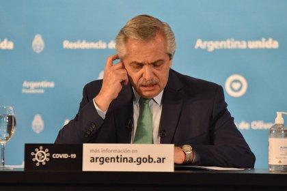 El presidente Alberto Fernández al anunciar la extensión de la cuarentena (Franco Fafasuli)