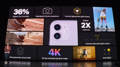 El iPhone 11, que es de aluminio y vidrio, integra una pantalla de 6,1 pulgadas y cuenta con dos cámaras en la parte trasera: una que es gran angular, con resolución de 12 MP, apertura f/1,8 y zoom óptico de 2 X; en tanto que la otra lente es ultra gran angular y también con 12 MP resolución pero con apertura f/2,4