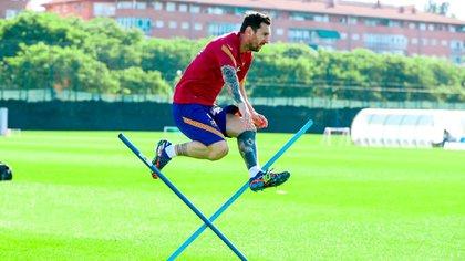 Messi se entrenó a pesar de que tenía el día libre (Foto: Barcelona oficial)