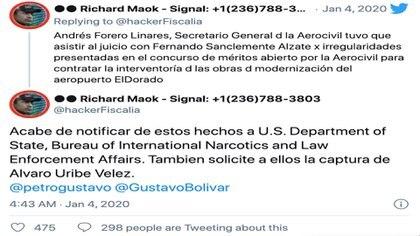 Denuncia a Fernando Sanclemente Alzate ante las autoridades estadounidenses / (Twitter: @hackerFiscalia).