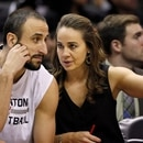 Nov 26, 2014; San Antonio, TX, USA; San Antonio Spurs assistant coach Becky Hammon (R) talks to shooting guard Manu Ginobili (20) during the first half against the Indiana Pacers at AT&T Center. Mandatory Credit: Soobum Im-USA TODAY Sports/Sipa USA