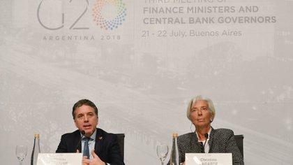 Dujovne y Lagarde en la conferencia de prensa dando inicio a las reuniones ministeriales del G20