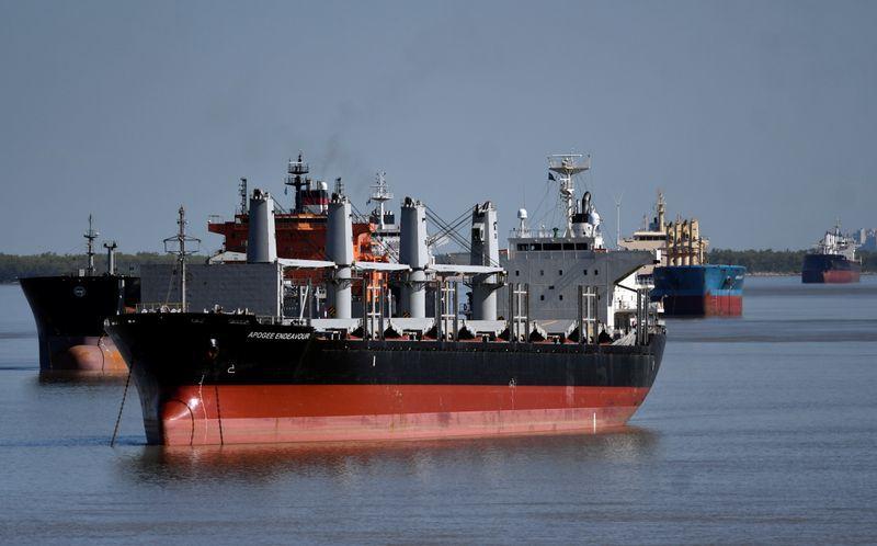 Barcos en el río Paraná afectados por la huelga. La Cámara de la Industria Aceitera presentó una nueva oferta salarial (Reuters)