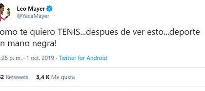 Así fue el posteo de Mayer en su cuenta de Twitter refiriéndose a la actuación del arbitraje y el VAR en el duelo copero