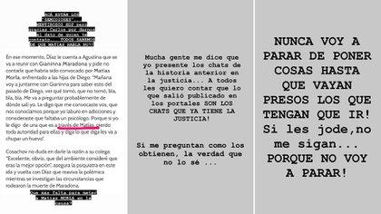 Los mensajes de Dalma Maradona luego de conocerse nuevos chats que involucran a Matías Morla