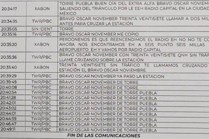 Transcripción de las comunicaciones entre el piloto del helicóptero y la torre de control (Foto: Archivo)