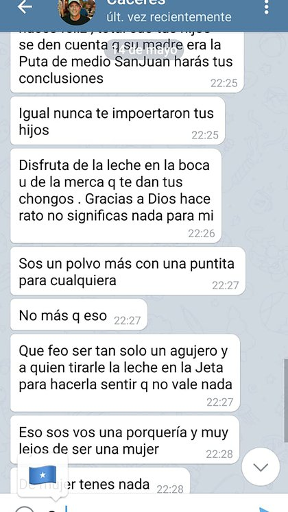 Cáceres le envió estos mensajes a Martinazzo