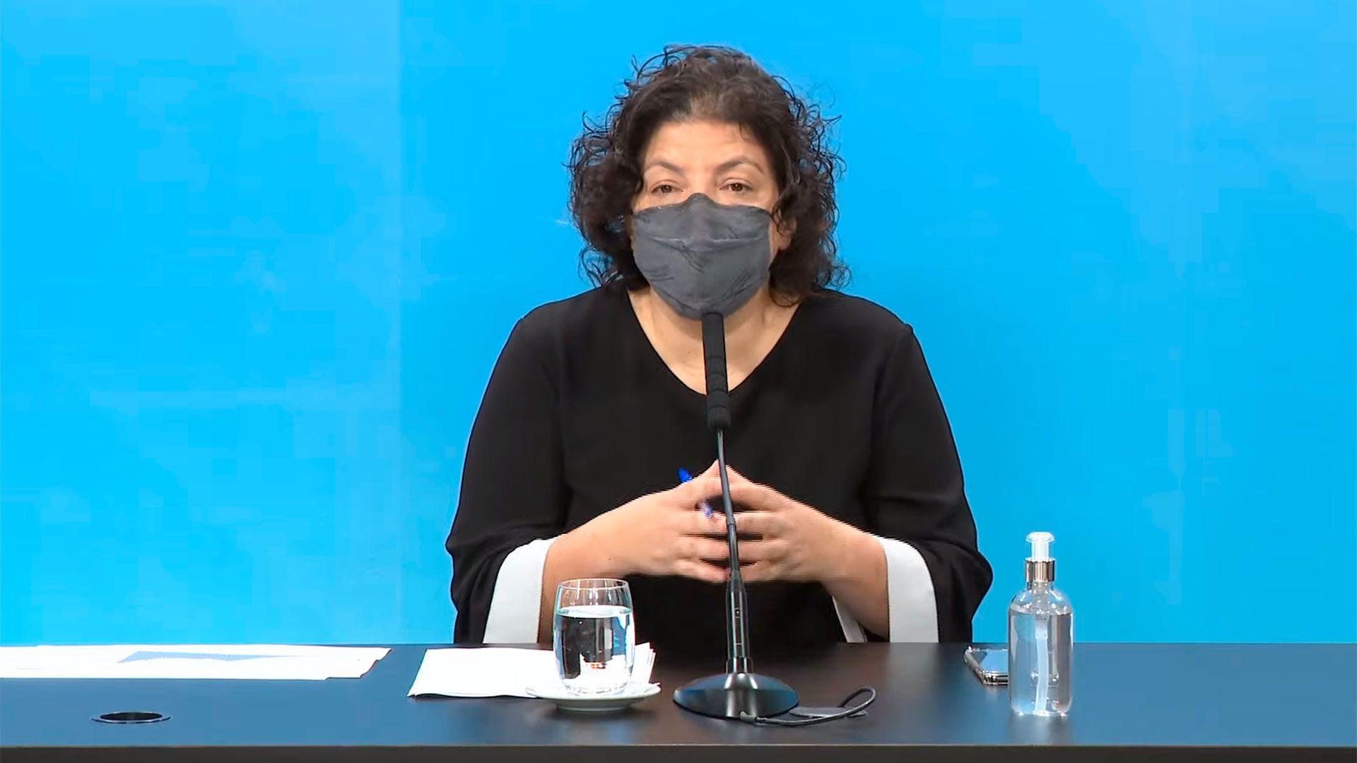 Conferencia de prensa de la ministra de Salud, Carla Vizzotti